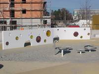 Wall element with glass in landscape architecture