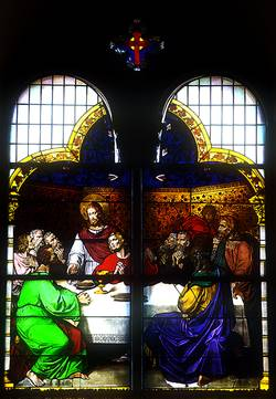 "Elisabetha-Spital Bad Königshofen glass painting """"The Last Supper"""", very probably originated approx. 1853"