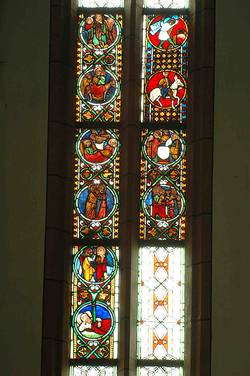 Lutheran Local parish church Bad Wimpfen Window OI, medieval fields