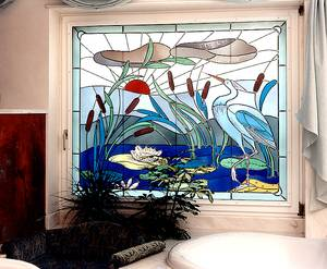 Another example of a different kind of blind in a bathroom – here, as  leaded glass with glass painting, design and glass painting by Curd Lessig