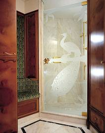 Shower door with sand-blasted design