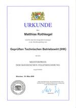 Award Certificate -  Master's Award granted by the Bavarian state government