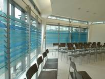Kreiskrankenhaus (County Hospital) Mosbach, blinds featuring glass lamellae with digital direct printing