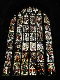 Interior view of the Imperial Window at St. Lorenz in Nuremberg; with our, protective glazing, primarily the preservation materials should be protected.