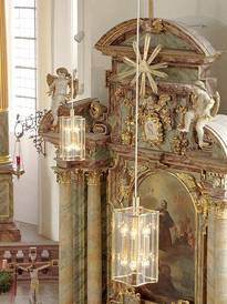Würzburg lead lights WB 07 /P 2-9 here in brass in the cath. Church Weilbach