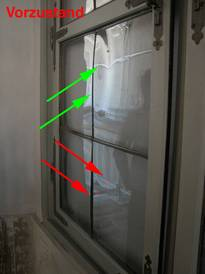 In the reflection, at first glance, the differences between the historic inventory and the repaired panes prior to the re-working performed by us is also plain to see.